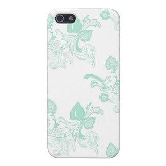 Grüner Vintager Blumenmuster-Entwurf Schutzhülle Fürs iPhone 5