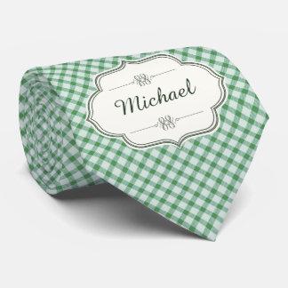 Grüner Vintager Ginghamkalligraphie-Namenfrau Krawatte