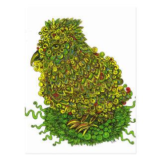 Grüner Vogel in einem Nest Postkarte