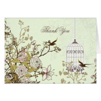 grüner Vogelmit blumenkäfig, Liebevögel danken Grußkarte