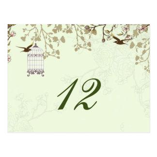 grüner Vogelmit blumenkäfig, Postkarte
