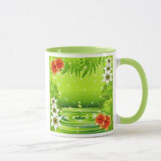 Grüner Wasser-Bambus und tropische Blumen-Tasse Tasse