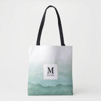 Grüner Watercolor bewegt Monogramm-Taschen-Tasche Tasche