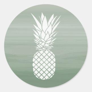 Grüner Watercolor-inspirierter Ananas-Aufkleber Runder Aufkleber