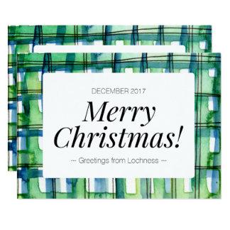 Grüner Watercolor-karierte frohe Weihnacht-Karte Karte