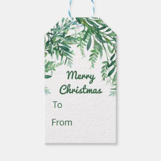 Grüner Watercolor-tropisches Blätter-Weihnachten Geschenkanhänger