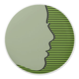 Grüner weiblicher Silhouette-Entwurf - Fach-Griff Keramikknauf