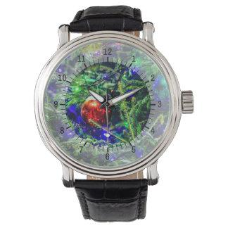 Grüner Weihnachtsbaum-Rot-Ball Armbanduhr