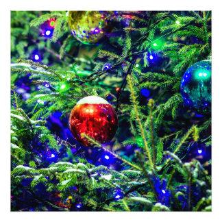 Grüner Weihnachtsbaum-Rot-Ball Fotodruck