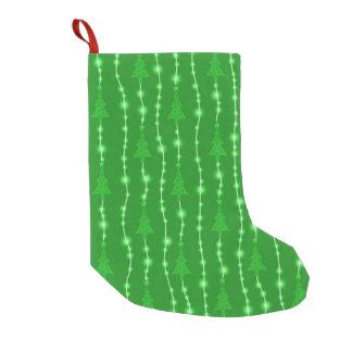 Grüner Weihnachtsbaum- und Licht-Strumpf Kleiner Weihnachtsstrumpf