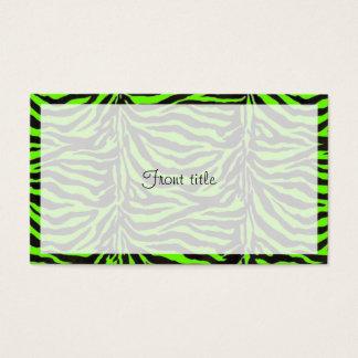Grüner Zebra-Haut-Beschaffenheits-Neonhintergrund Visitenkarte