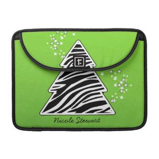 Grüner Zebra-Weihnachtsbaum MacBook Pro Sleeve