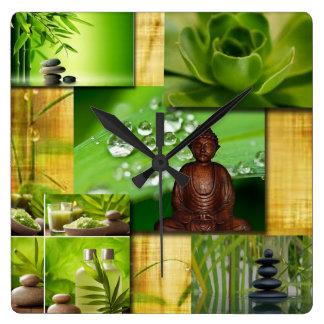 Grüner Zen u. Buddha-Ruhe-Collage Quadratische Wanduhr