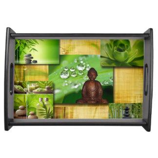 Grüner Zen u. Buddha-Ruhe-Collage Serviertablett