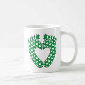 Grünes Abdruck-Herz Kaffeetasse