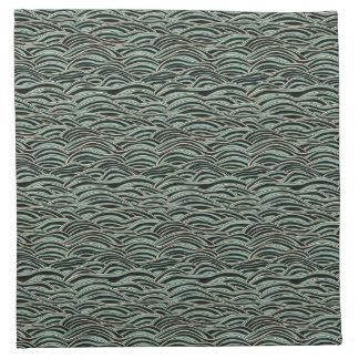 Grünes abstraktes Wellenmuster. Seebeschaffenheit Serviette