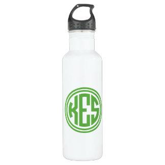 Grünes adrettes Kreis-Monogramm Trinkflasche