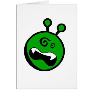 Grünes alien schwindlig karte