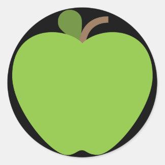 Grünes Apple Emoji Runder Aufkleber