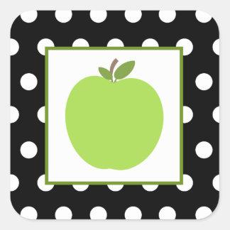 Grünes Apple/Schwarzes mit weißen Tupfen Quadrat-Aufkleber