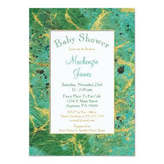 Grünes aquamarines Goldneutrale 12,7 X 17,8 Cm Einladungskarte