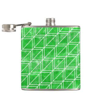 Grünes Aquarell-geometrisches Muster Flachmann