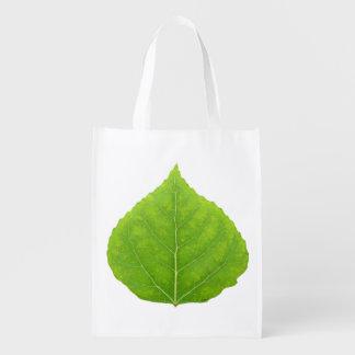 Grünes Aspen-Blatt #11 Wiederverwendbare Einkaufstasche