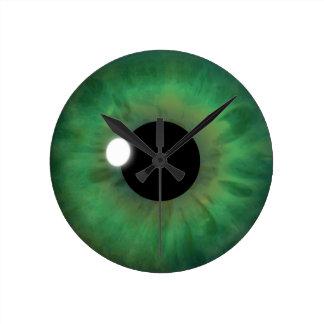 Grünes Augen-Iris-Augapfel-mittlere Runde Wanduhr