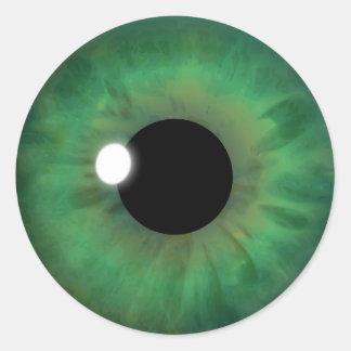 Grünes Augen-Iris-cooler Runder Aufkleber