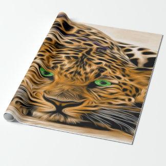 Grünes Augen-Leopardname Fred Geschenkpapier