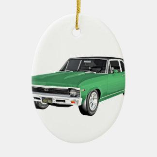 Grünes Auto des Muskel-1968 Keramik Ornament