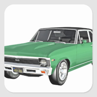 Grünes Auto des Muskel-1968 Quadratischer Aufkleber