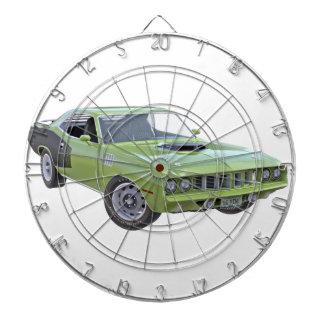 Grünes Auto des Muskel-1971 Dartscheibe