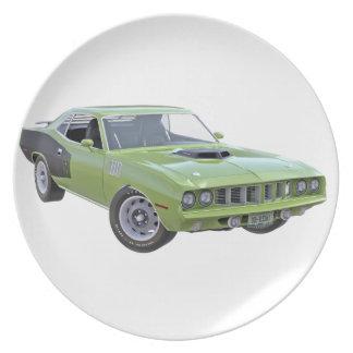 Grünes Auto des Muskel-1971 Teller