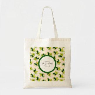 Grünes Avocado-Aquarell-Muster-Monogramm Budget Stoffbeutel
