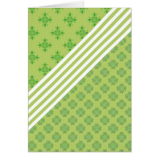 grünes barockes Weiß stripes Blumenverzierungsklee Grußkarte