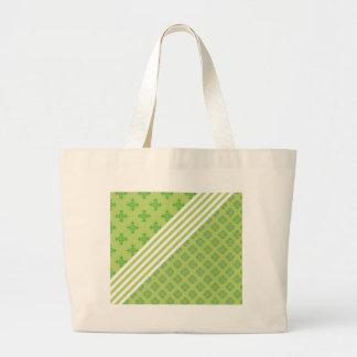 grünes barockes Weiß stripes Blumenverzierungsklee Jumbo Stoffbeutel