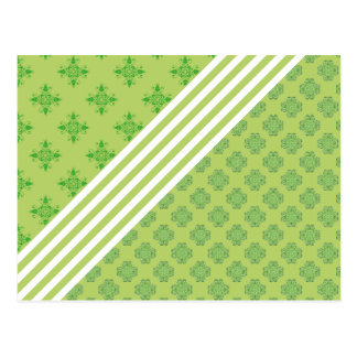 grünes barockes Weiß stripes Blumenverzierungsklee Postkarte