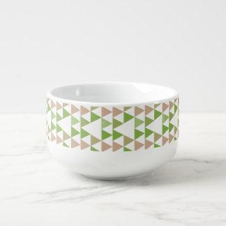 Grünes Baum-Kohl-Grün-Dreieck-geometrisches Mosaik Große Suppentasse