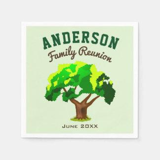 Grünes Baum-Name-Familien-Wiedersehen Papierserviette