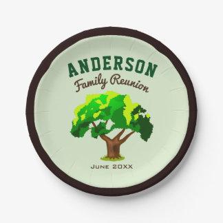 Grünes Baum-Name-Familien-Wiedersehen Pappteller