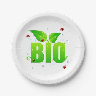 Grünes biologisches Bio natürliches Pappteller