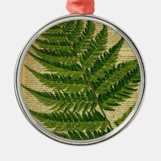 Grünes Blatt auf Seite des alten Buches, Rundes Silberfarbenes Ornament