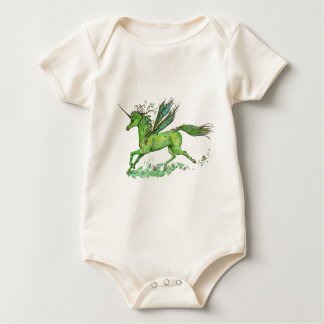 Grünes Blatt-Einhorn Pegacorn Pegasus Pferd Baby Strampler