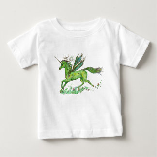 Grünes Blatt-Einhorn Pegacorn Pegasus Pferd Baby T-shirt