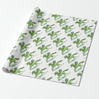 Grünes Blatt-Einhorn Pegacorn Pegasus Pferd Geschenkpapier