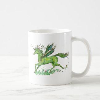 Grünes Blatt-Einhorn Pegacorn Pegasus Pferd Kaffeetasse