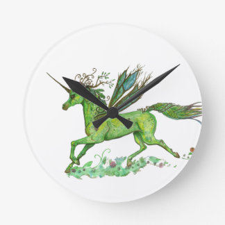 Grünes Blatt-Einhorn Pegacorn Pegasus Pferd Runde Wanduhr