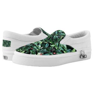 Grünes Blatt kundenspezifischer Zipz Beleg auf Slip-On Sneaker
