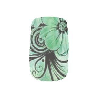 Grünes Blumen Minx Nagelkunst